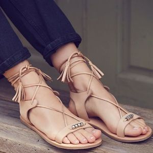 Free People Leather Bryn Marr Ankle Wrap Sandals